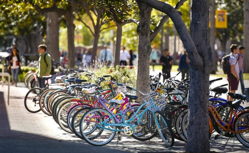 Image of bikes on campus
