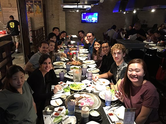 Lab enjoying Korean BBQ, November 2015