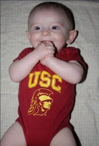 Infant in USC onesie