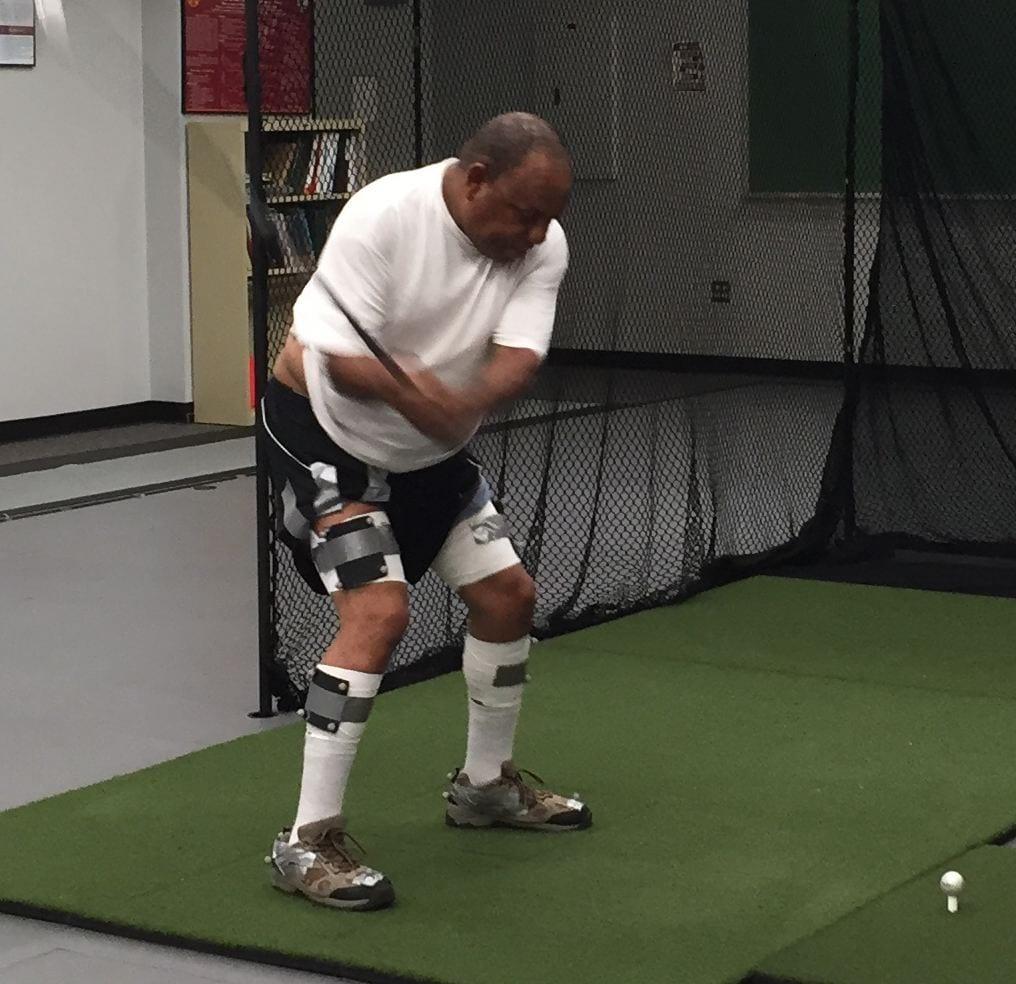 Senior golfer in lab