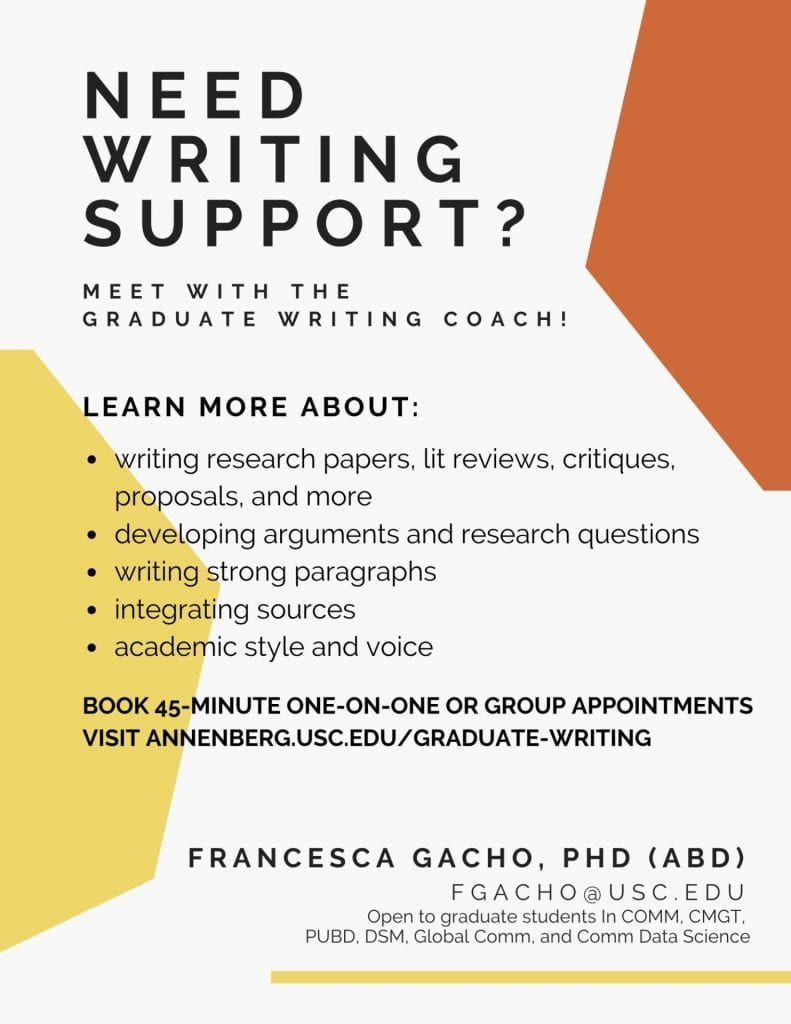 Flyer for Graduate Writing Coach.