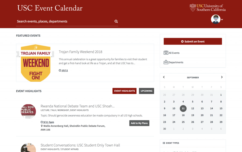 USC Event Calendar
