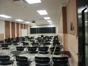 Classroom, VKC Classroom - Brick Walls - Long Windows