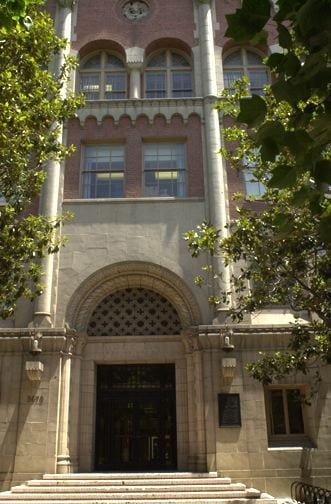 Building Exterior (brick), Bridge Hall Building - entrance - exterior