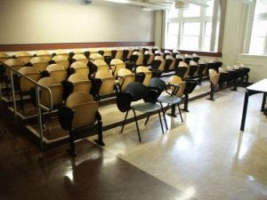Classroom, ZHS 163 - Science Hall - Small Lecture Room - Tiered Seating
