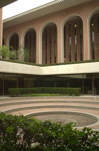 Courtyard, Von KleinSmid Center (VKC) building courtyard - modern - brick - exterior