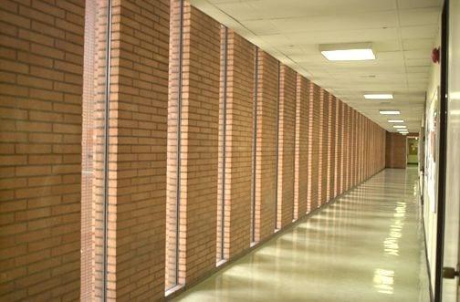 Hallway, VKC building hallway - modern - brick - interior