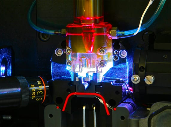 Flow cell with lasers (Photo by Tara Stanley)