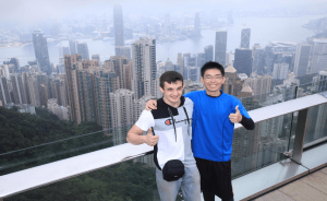 Kazuaki and fellow classmate overlooking the Victoria Harbor in Hong Kong