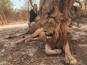 Alexis poses behind a lion while holding a walking stick