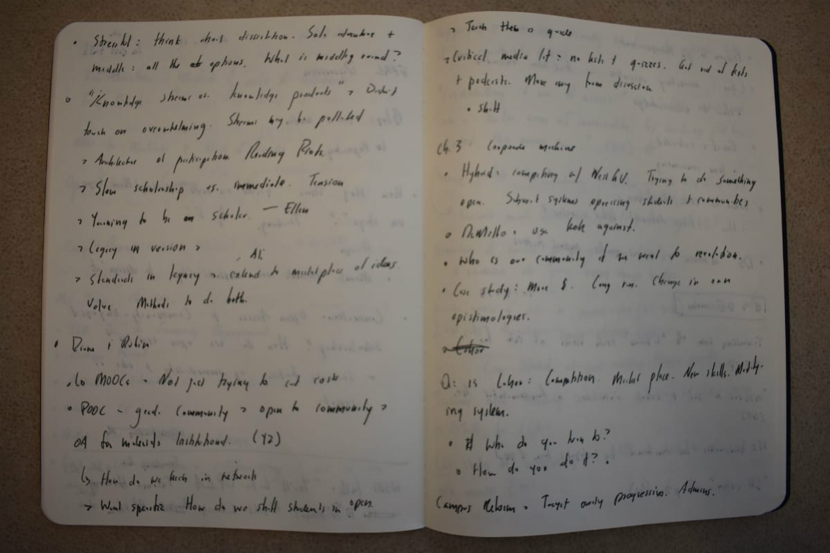 Photo of two pages from a digital scholarship notebook, showing rough notes taken during meeting.