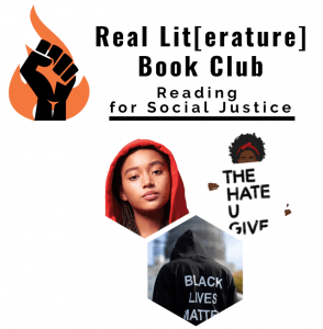 Decorative Image: Logo for Real Lit Book Club plus book cover of The Hate U Give