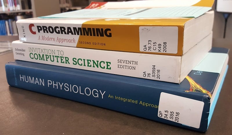 Photo of textbooks on Reserve