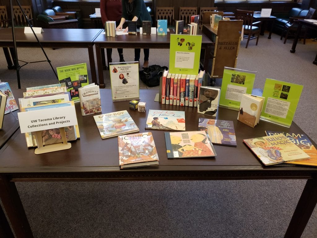 Display of books from the Louie Collection
