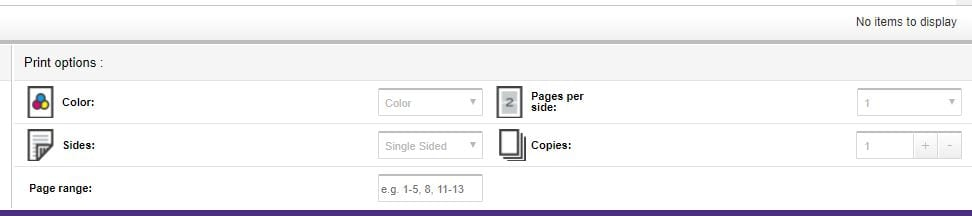 "An screenshot of the Print Options on print.uw.edu. ""Color printing"" appears directly under the ""Print Options"" heading."
