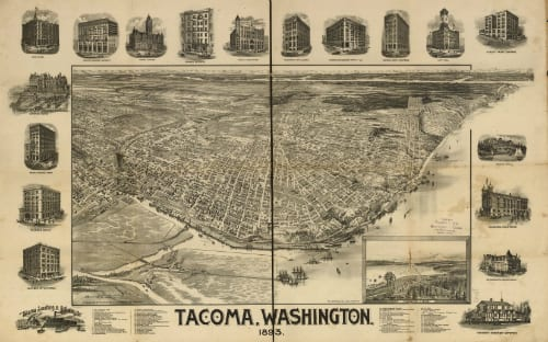 Bird's eye view of Tacoma, a map published in 1893.