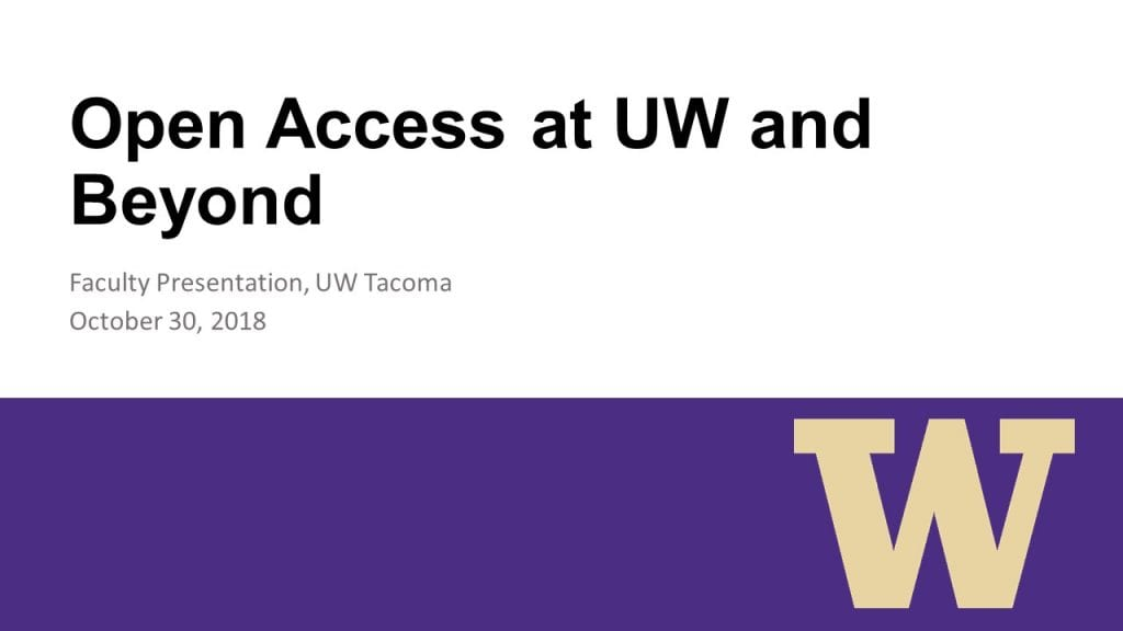Title slide to presentation: Open Access and Beyond