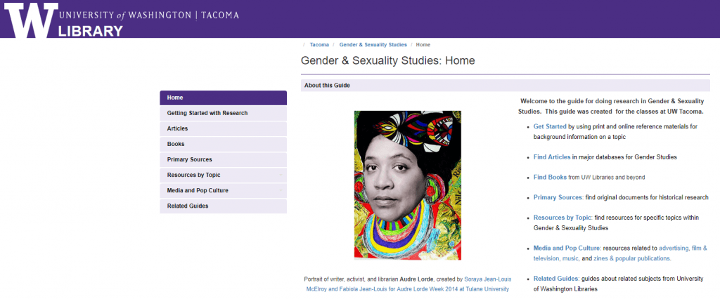 screenshot of the Gender & Sexuality Studies Subject Guide, UW Tacoma Library