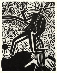 Black and white graphic novel illustration of a tall skeleton, striding.