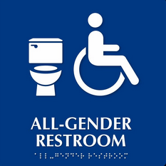 All Gender restroom logo (toilet, wheelchair, text, and braille)