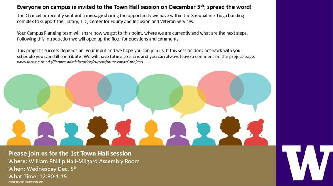 Flyer for space planning town hall event occurring Wed,, 12/5, 12:30-1:15, in William Philip Hall.