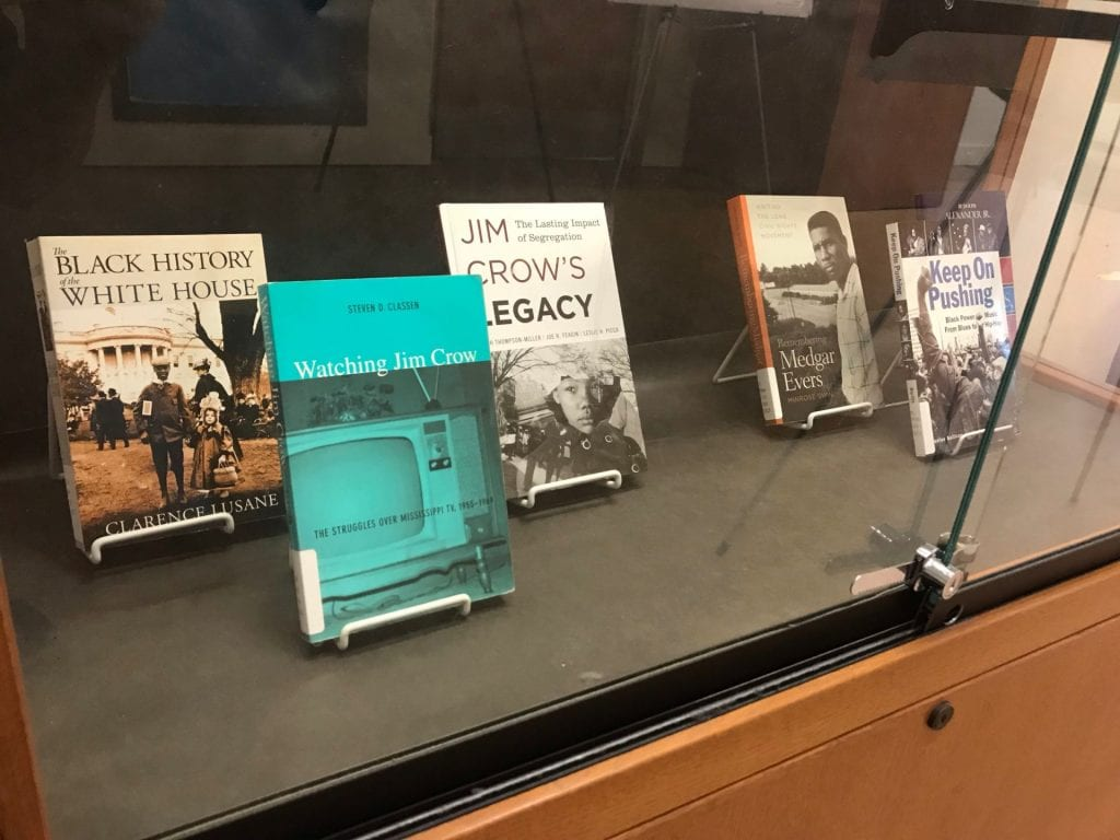 Four books in a library display about Civil Rights