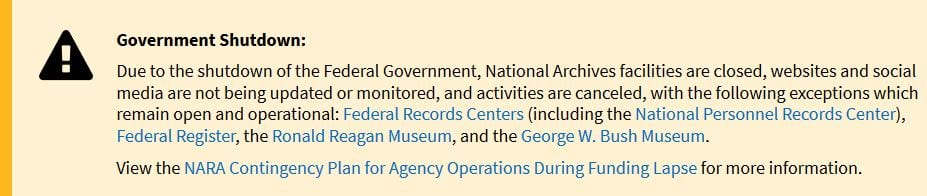 Photo: Government Shutdown Notice from the National Archive