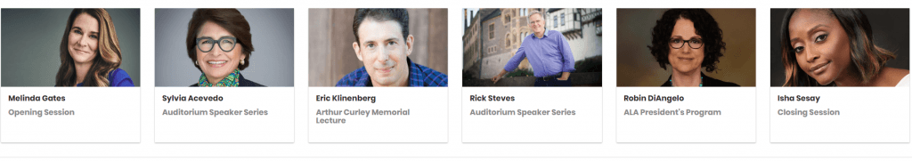 Screenshot from the ALA Midwinter Webpage, showing the Featured Speakers in 2019