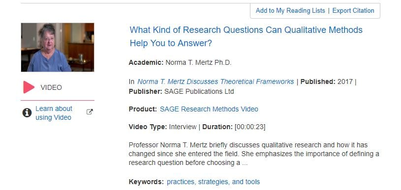 Screenshot from SAGE Research Methods online database showing their video series on research methodology