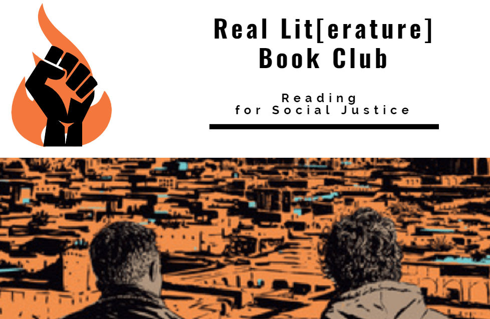 Real Lit[earture] Book Club Logo, which consists of an orange flame and black raised fist. Book cover of the book Darius the Great is Not Okay
