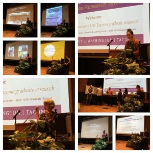 Collage of Photos from a past lecture event. Students and faculty are lecturing in front of a large screen.