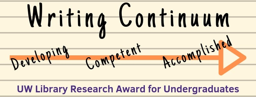 """Title reads """"Writing Continuum,"""" followed by an arrow with words left-to-right: """"Developing,"""" """"Competent,"""" """"Accomplished"""" on top of an orange arrow moving left-to-right, underneath is """"UW Library Research Award for Undergraduates."""" Background appears like yellow lined writing paper."""