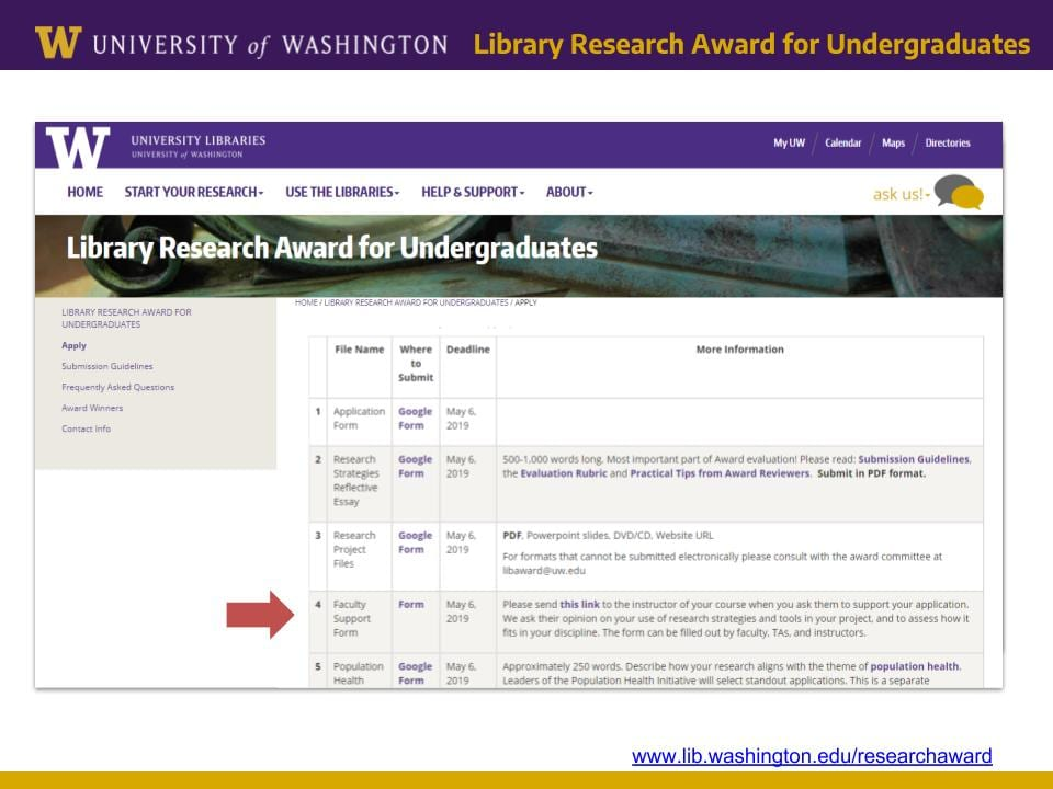 Screenshot of Library Research Award application landing page with red arrow pointing to Faculty Support Form