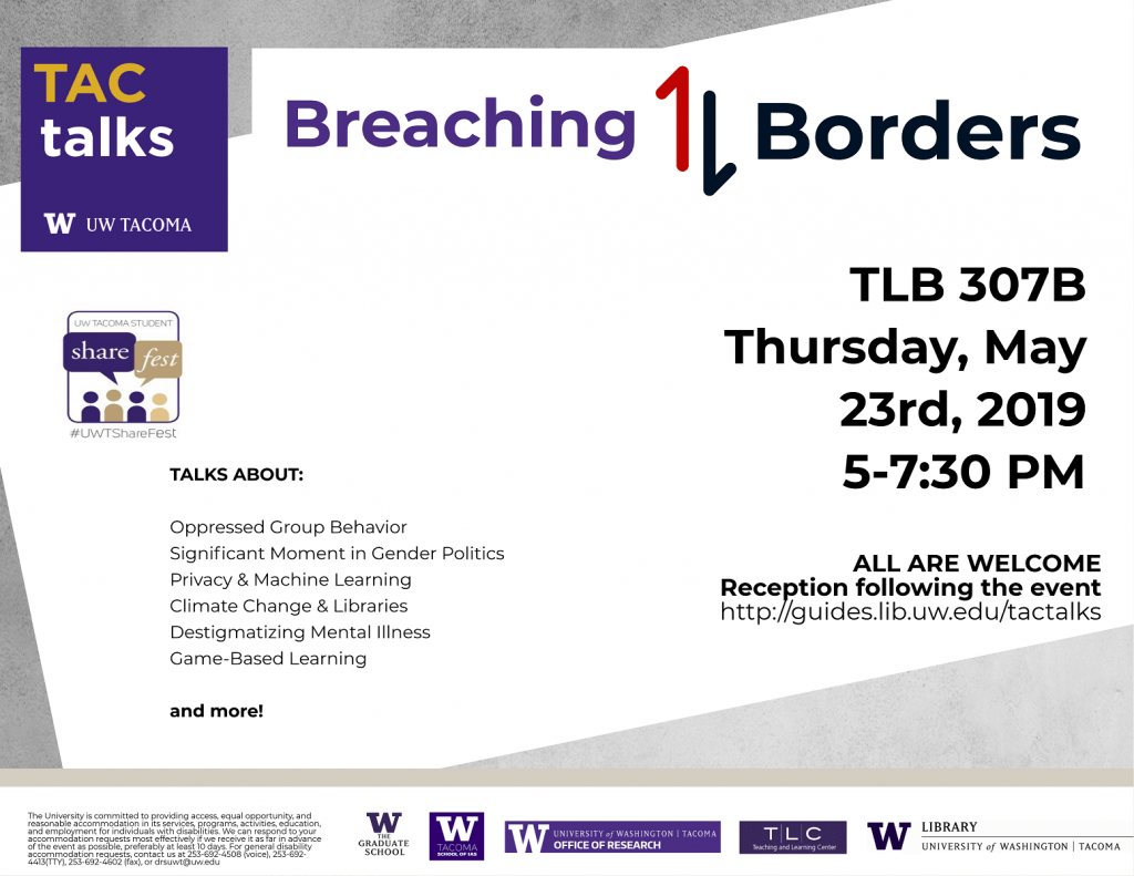 Poster flyer for TAC Talks: Breaching Borders. Talks about Oppressed Group Behavior, Watershed in Gender Politics? Privacy & Machine Learning, Climate Change & Libraries, Destigmatizing Mental Illness, Game Based Learning and More!