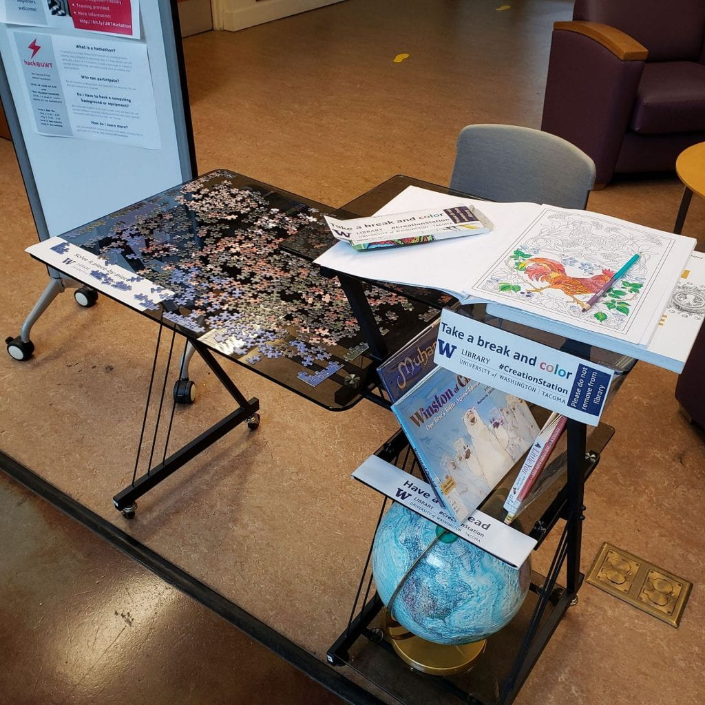 A tiered table holds a partially-assembled jigsaw puzzle, a globe, children's books, and a coloring book and pencil box.