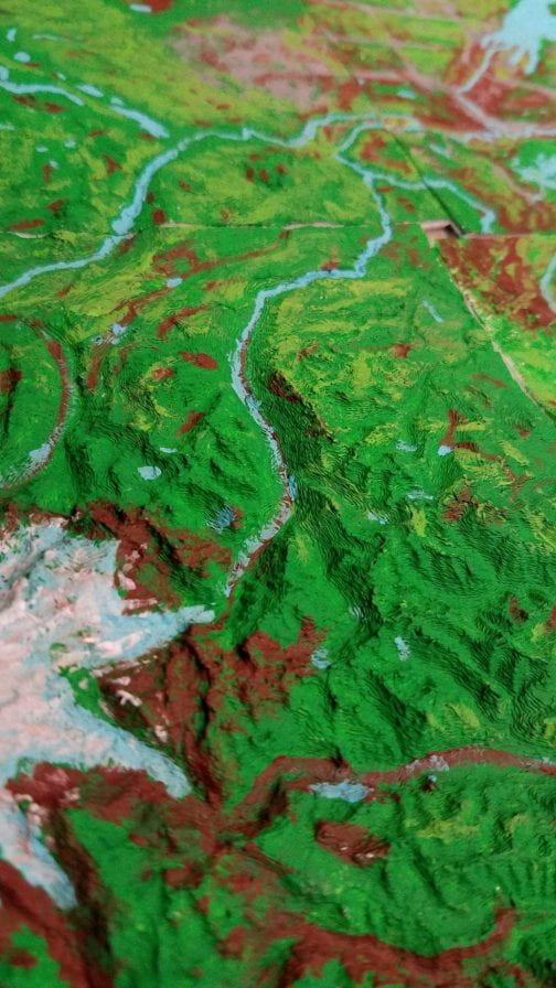 3D Print of LIDAR data from Mt. Rainier to Tacoma