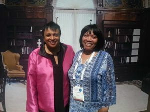 Two women facing the camera and smiling. On the left is Carla Hayden, Librarian of Congress.
