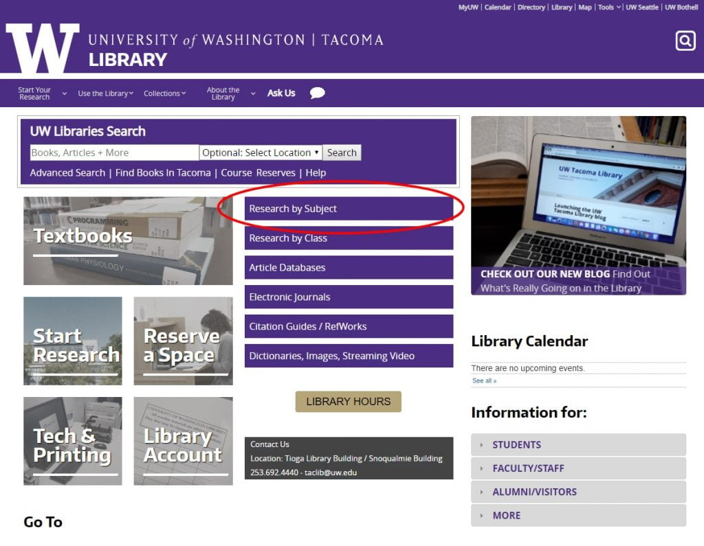 Screenshot of UW Tacoma Library website