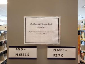 """""""Children's & Young Adult Literature"""" sign above markers for sections AG 5 - N 6537.5 and N 6853 - PZ 7 C"""