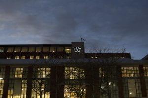UW Tacoma Library at night