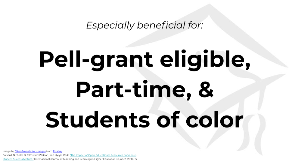 "Slide text reads, ""Especially beneficial for: Pell-grant eligible, Part-time, & Students of color."""