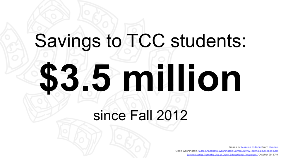 "Slide text reads, ""Savings to TCC students: $3.5 million since Fall 2012."""