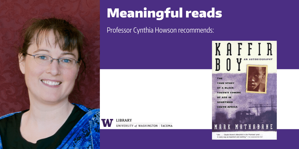 "Image of Prof. Cynthia Howson with a cover image of her recommended book, ""The Kaffir Boy"""
