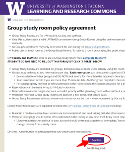 UW Tacoma library group study room policy agreement.