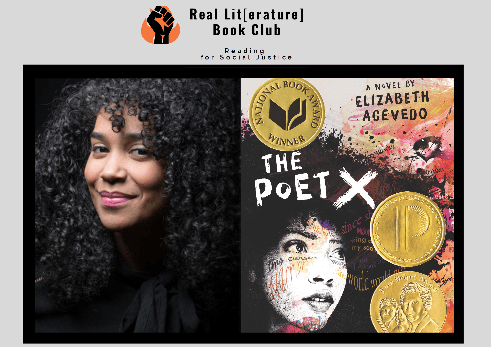 Image shows photo of Elizabeth Acevedo and the cover of her book, The Poet X