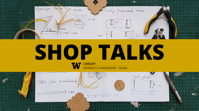 """Image showing tools and work table in the background and yellow banner that says """"Shop Talks"""""""