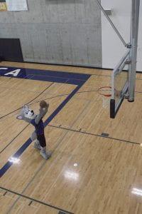 Image of Hendrix, UW Tacoma's mascot, playing basketball.
