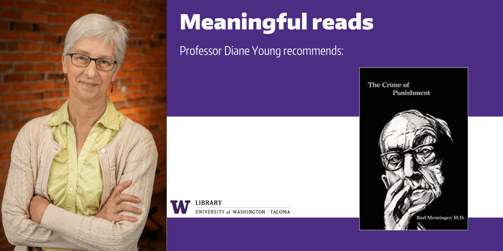 "Image of Prof. Diane Young with a cover image of his recommended book, ""The Crime of Punishment"""""""