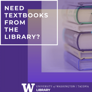 Purple and gold square with text: Need textbooks from the library? Image shows stack of books.
