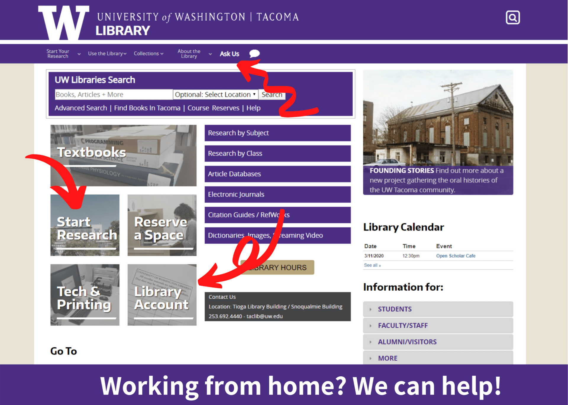 "A screenshot of the UW Tacoma Library homepage. The ""Ask Us!"", ""Start Your Research,"" and ""Library Account"" buttons are highlighted."